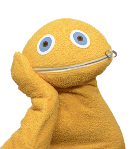This is a picture of Zippy from Rainbow leaning on his right hand.