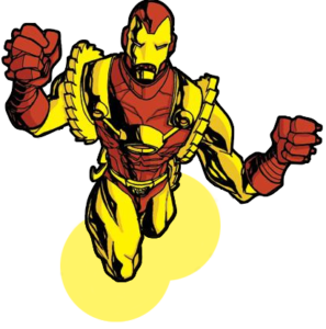 Iron Man of 2020: It's a picture of Iron Man 2020 from Marvel comics.