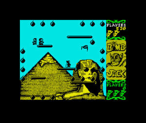Bomb Jack: Bombjack stands on the very centre platform while an enemy bird is moving in on him from the top right. Enemies are spawning on the upper most left platform. The background depicts the great payramid and the Sphinx.