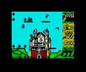 Bomb Jack: Bombjack is flying at the top right of the screen. An enemy bird is below him to the right while enemies spawn on a platform to the left. the background depicts Neuschwanstein Castle in Bavaria.