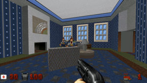 Duke Nukem: Duke is in a blue room with three windows and a fireplace. Two 'Pig Cops' are in the centre of the room.