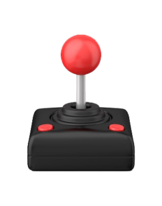 An old style two button joystick with a red, spherical handle and two red buttons on a black base.