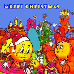Pciture shows Pac-man, Mrs Pac-man, Pac Jr. and ghosts celebrating Christmas